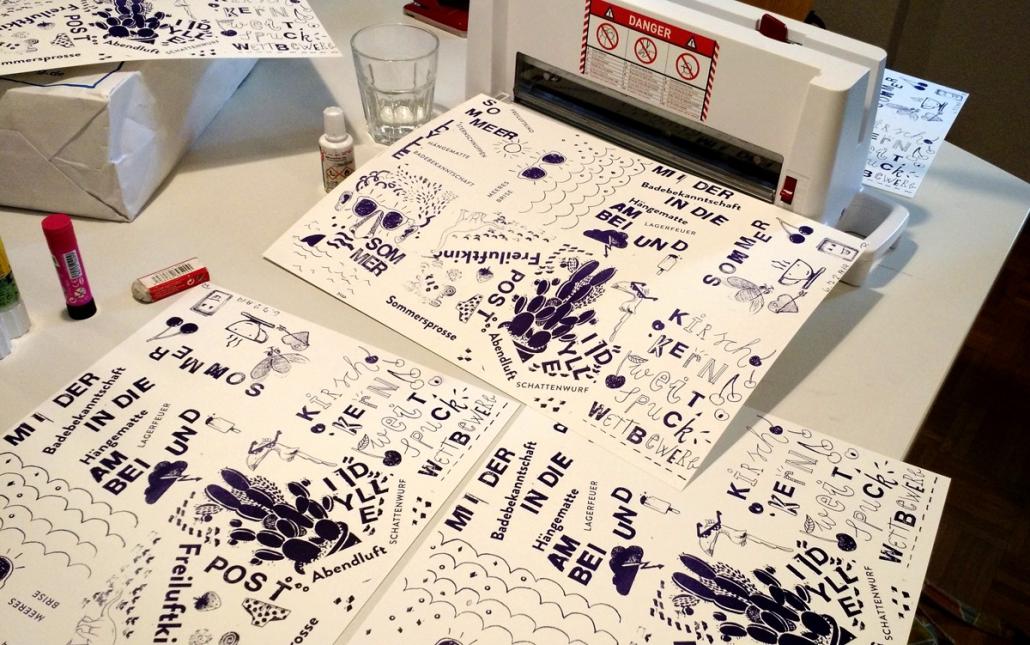 Postkarten fertig zum Schnitt