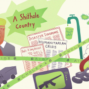 Silke Jaspers Infoillustration für Film-Projekt inHAITI, Thema Trump